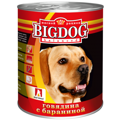 "Зоогурман ""BIG DOG"" Говядина с бараниной ж/б 850гр"