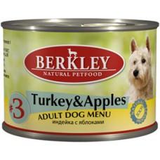 75001/345 Беркли кон. д/собак индейка с яблоками №3 200гр*6