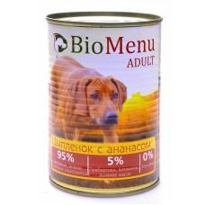 BioMenu ADULT Консервы д/собак Цыпленок с Ананасами 95%-МЯСО 100гр*24